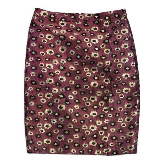 J.Crew Marigold Floral Metallic Pencil Skirt 0